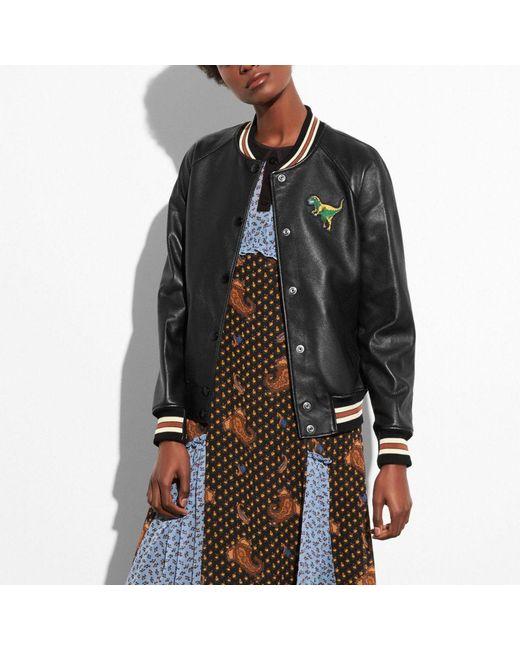 COACH - Black Leather Varsity Jacket - Lyst