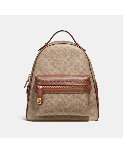 COACH - Brown Campus Backpack In Signature Canvas - Lyst