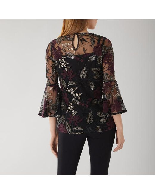 115dfc8d350d13 Coast Perla Floral Embroidered Mesh Overlay Top in Black - Save 26 ...