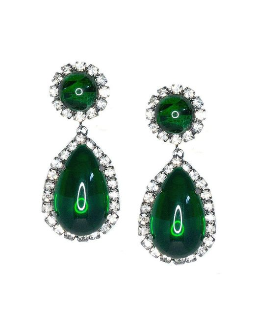 Kenneth Jay Lane Green Gunmetal Crystal And Emerald Cabachon Teardrop Clip Earrings Lyst
