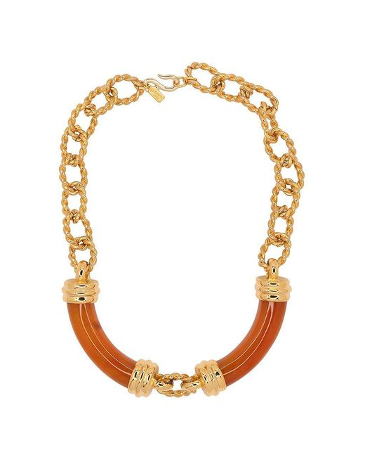 Kenneth Jay Lane - Metallic Gold And Amber Link Tube Necklace - Lyst