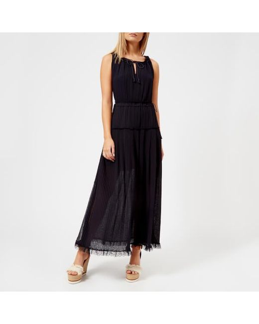 See By Chloé - Blue See By Chloe Women's Pleated Maxi Dress - Lyst