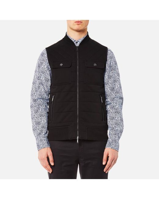 3ead172e1eef Michael Kors - Black Quilted Knitted Vest for Men - Lyst ...