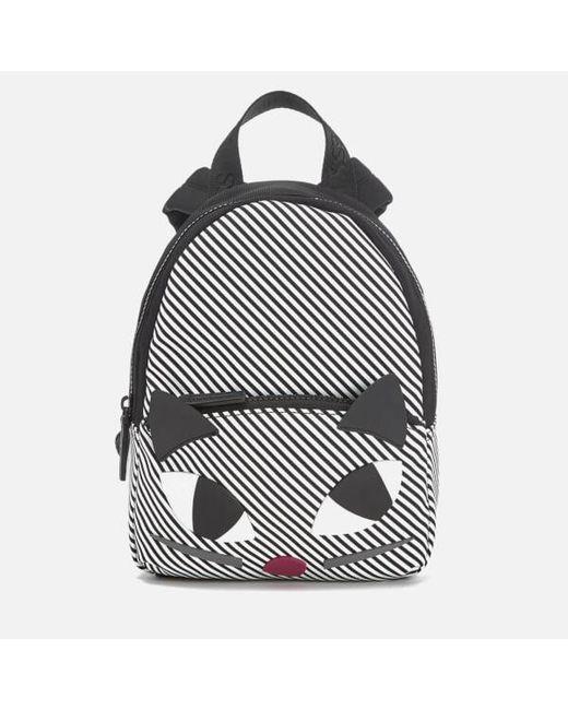 Lulu Guinness | Black Women's Stripe Kooky Cat Small Backpack | Lyst