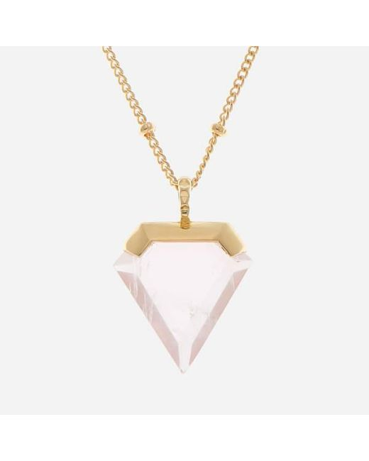 Missoma | Metallic Women's Rose Quartz Shield Pendant And Gold Beaded Chain | Lyst