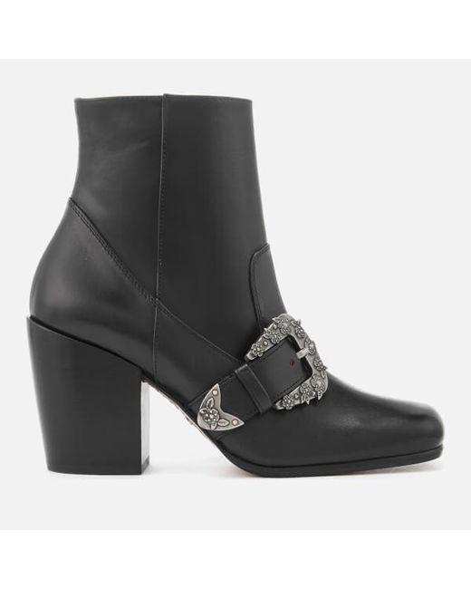 aa55de86a7f8c COACH - Black Women s Western Buckle Heeled Boots - Lyst ...