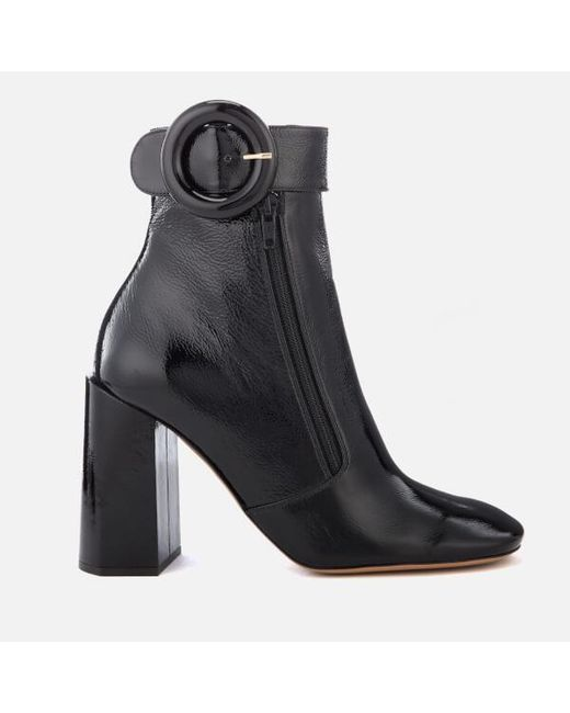 Lyst - Mulberry Women s Patent Block Heel Ankle Boots in Black e995ed0355e4