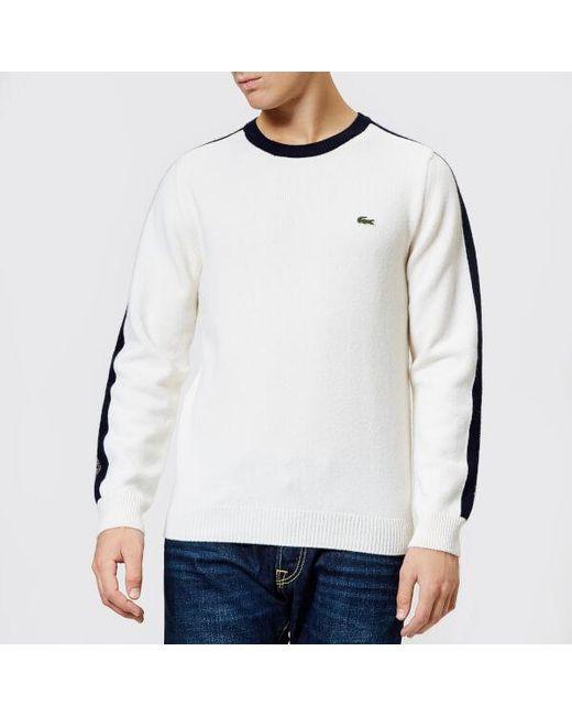 5af40fb0524c Lacoste - White Men s Made In France Shoulder Tape Knitted Jumper for Men  ...