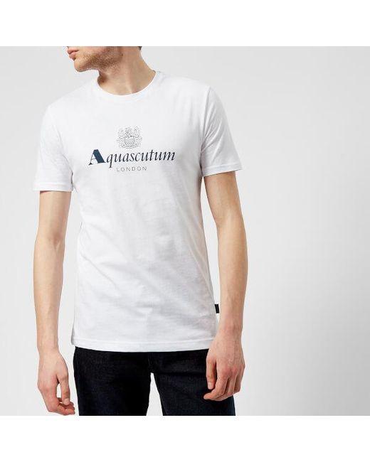 Aquascutum - White Men's Griffin Crew Neck Logo Short Sleeve Tshirt for Men - Lyst