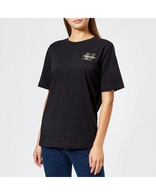 Calvin Klein - Black Women's Geo Shape Boyfriend Fit Tshirt - Lyst
