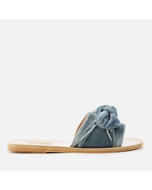 Ancient Greek Sandals - Blue Women's Taygete Bow Velvet Bow Slide Sandals - Lyst