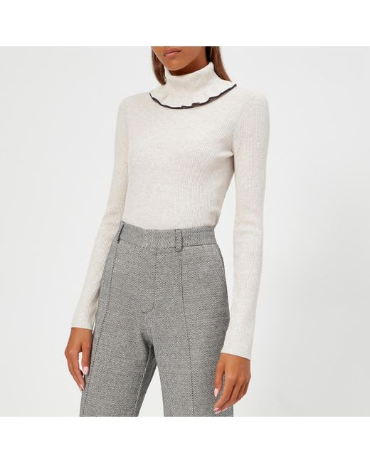 32bb965d3db87f See By Chloé - White High Neck Jumper - Lyst ...