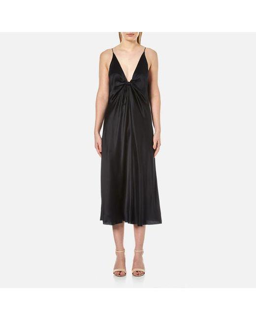 T By Alexander Wang - Black Women's Silk Hammered Charmeuse Tie Knot Sleeveless Dress - Lyst