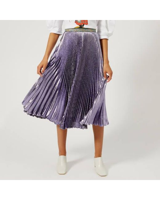 Christopher Kane - Purple Women's Lame Pleated Skirt - Lyst