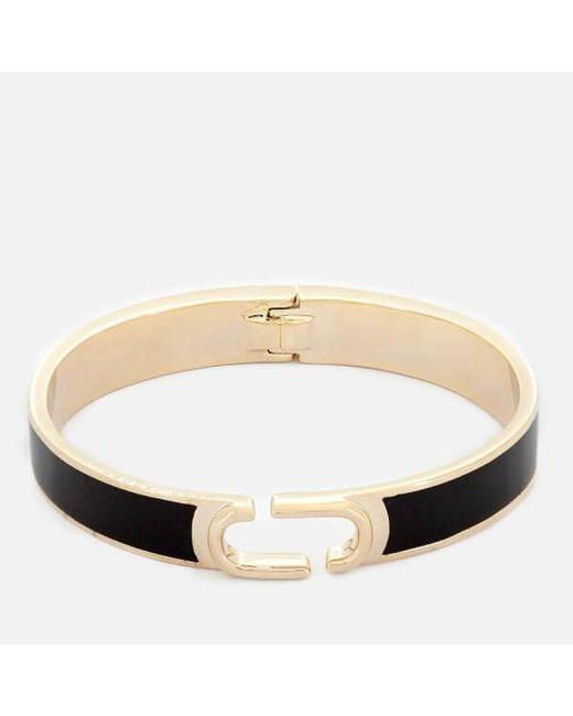 Marc Jacobs - Black Women's Double J Enamel Hinge Cuff Bracelet - Lyst