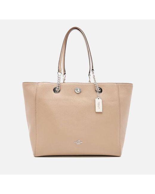 COACH - Natural Women's Turnlock Chain Tote Bag - Lyst