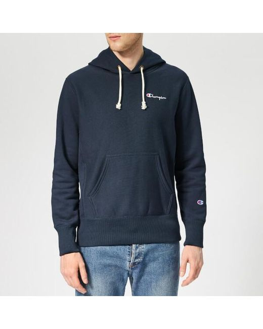 594eb8a4086a Champion Men s Small Logo Hooded Sweatshirt in Blue for Men - Lyst