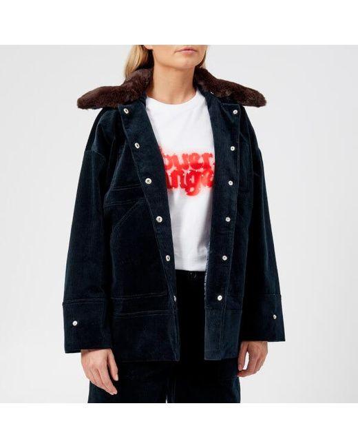 Ganni - Blue Women's Ridgewood Coat - Lyst