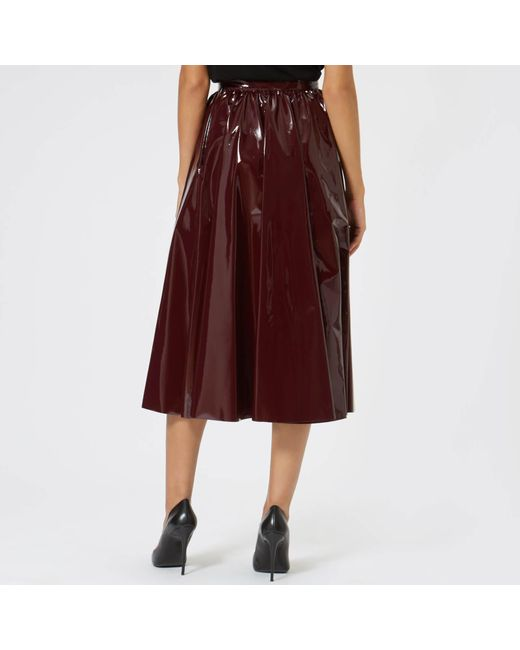 d4560e9895 MSGM Pvc Midi Skirt in Red - Save 70% - Lyst