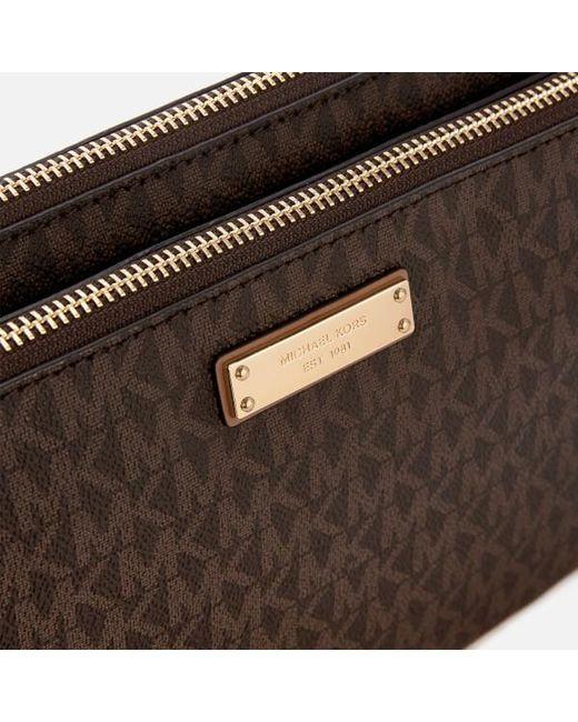 6df2c3bd9d18 ... Lyst MICHAEL Michael Kors - Brown Women s Adele Double Zip Cross Body  Bag ...