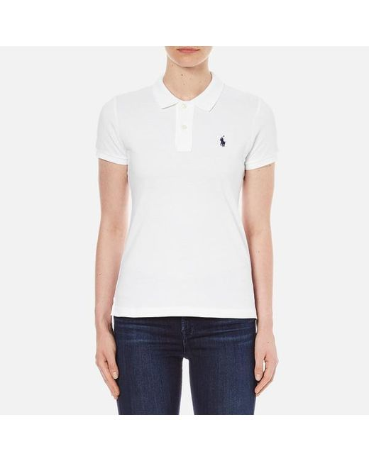 Polo Ralph Lauren Women s Skinny Fit Polo Shirt in White - Lyst a3a8c1902ac4