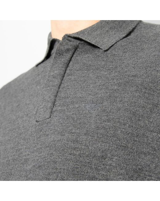 fcb665a00f Lyst - Emporio Armani Knitted Polo Shirt in Gray for Men - Save 50%