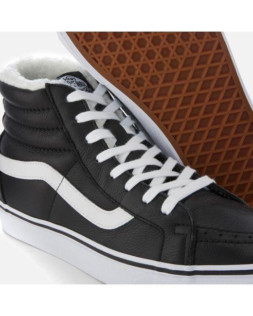 5f8253f96613a5 ... Vans - Black Sk8-hi Reissue Leather fleece Trainers for Men - Lyst