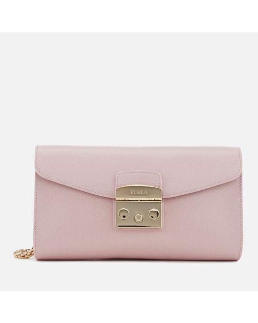 Furla - Pink Women's Metropolis Small Chain Pochette - Lyst