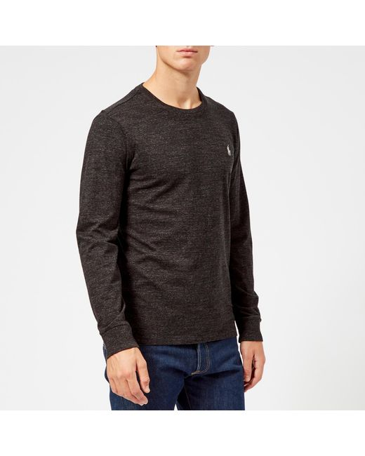 6f3e8b934 Polo Ralph Lauren - Black Basic Crew Neck Long Sleeve T-shirt for Men ...