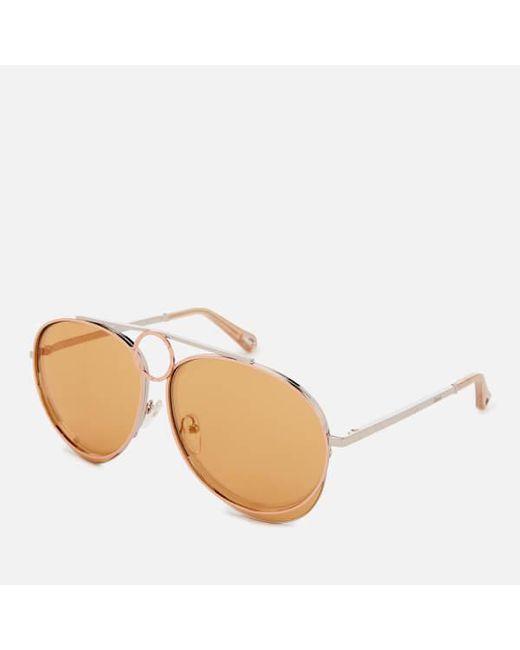1e1e10a153b Chloé Women s Romie Aviator Style Sunglasses in Metallic - Lyst