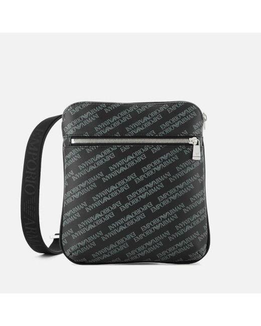 728718355fe Emporio Armani - Black Men s Small Flat Messenger Bag for Men - Lyst ...