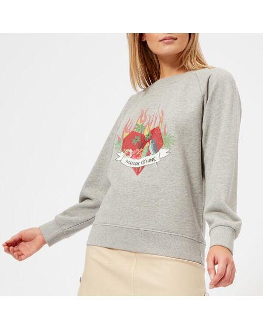 Maison Kitsuné - Gray Women's Burning Heart Sweatshirt - Lyst