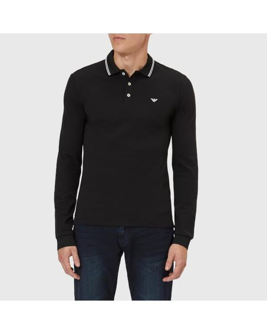 157975c49e ... discount code for emporio armani contrast trim long sleeve polo black  for men lyst d963d 62b63
