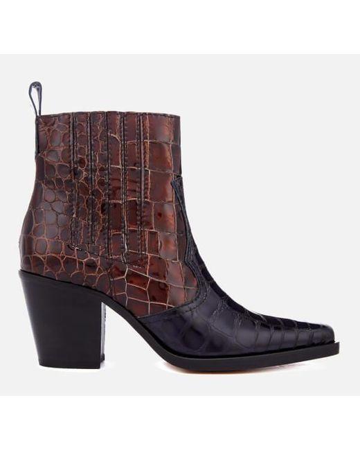 Ganni - Brown Women's Callie Western Heeled Boots - Lyst