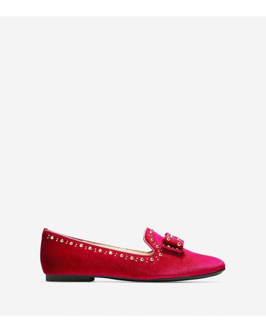 Cole Haan - Red Tali Bow Stud Loafer - Lyst