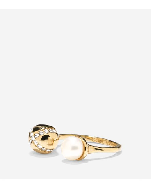 Cole Haan | Metallic Set The Ball In Motion Fresh Water Pearl Ring | Lyst