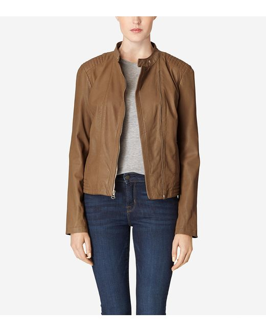 Cole Haan | Blue Asymmetrical Washed Leather Racer Jacket | Lyst