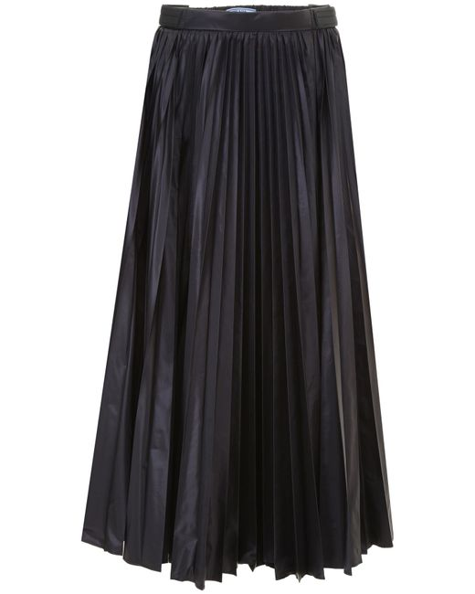 Prada - Black Pleated Nylon Skirt - Lyst