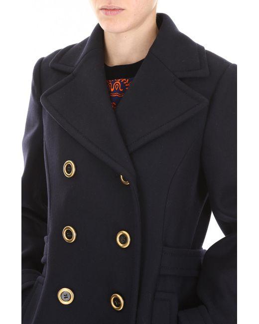 96a4631a4dd ... Miu Miu - Black Wool Cloth Coat - Lyst ...