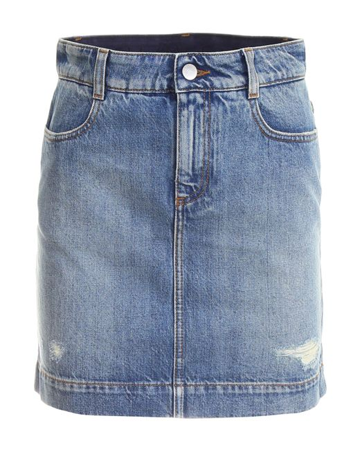 Stella McCartney - Blue Distressed Denim Skirt - Lyst