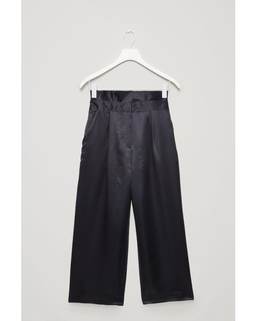 aa4e98717f004 Lyst - COS Silk Trousers With Frill Waist in Blue
