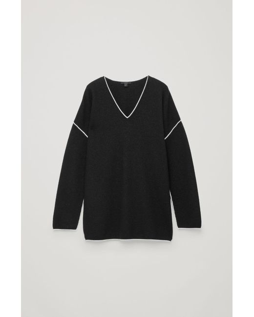 b707bb15bf9c COS Merino Jumper With Contrast Edge in Black - Lyst