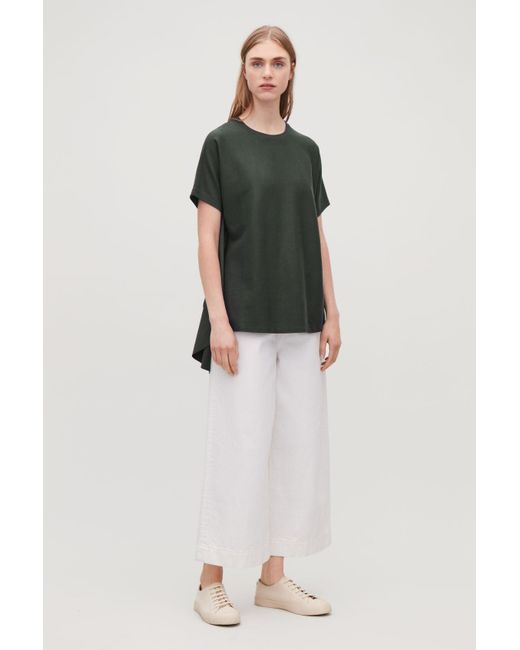 COS - Green Circle-panelled T-shirt - Lyst