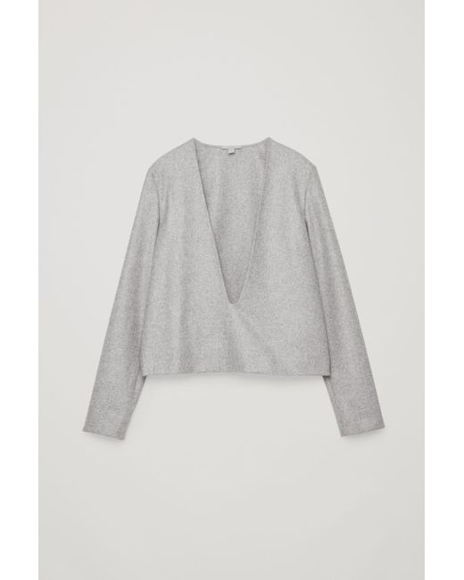 cb6799c7bc32 Lyst - Cos Deep V-neck Wool Top in Gray