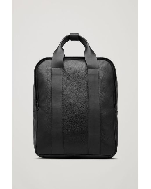 COS - Black Grained Leather Tote Backpack for Men - Lyst