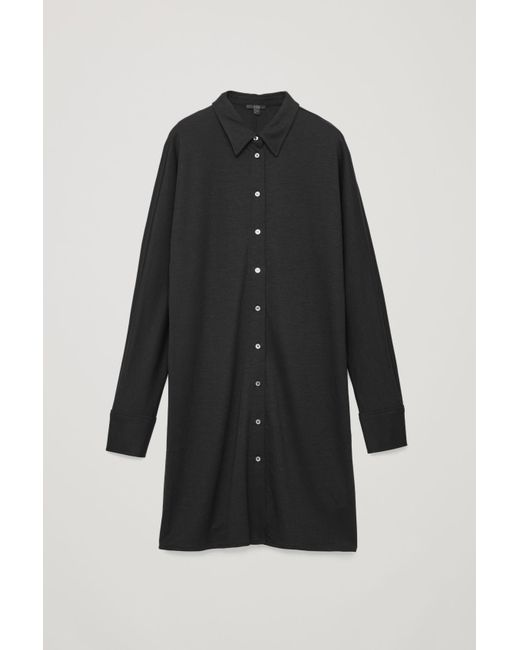 333fdc94a8a4 COS Wide-sleeve Jersey Shirt Dress in Black - Lyst