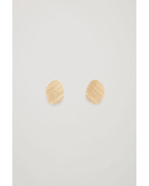 COS - Metallic Embossed Stud Earrings - Lyst