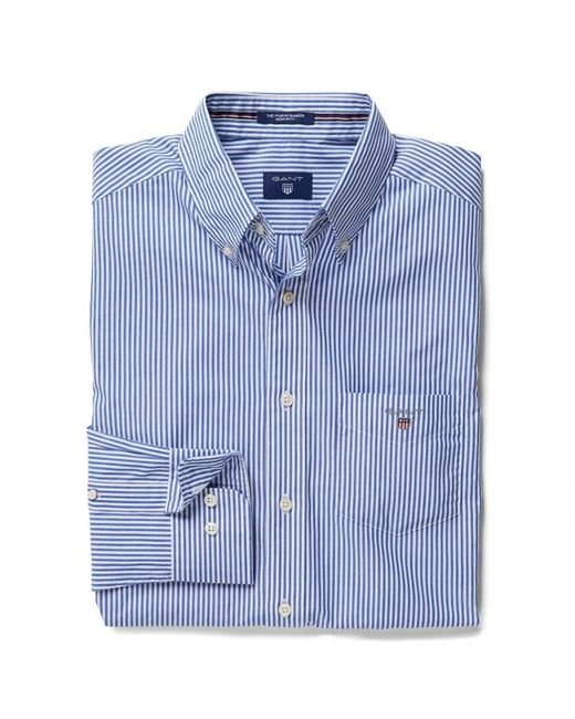 Gant - Blue The Poplin Banker Stripe Mens Shirt for Men - Lyst
