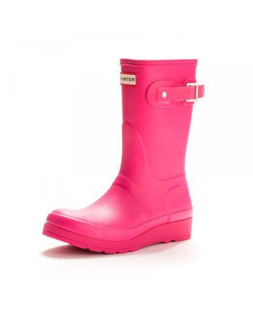 Hunter - Pink Original Short Wedge Sole Ladies Wellington - Lyst