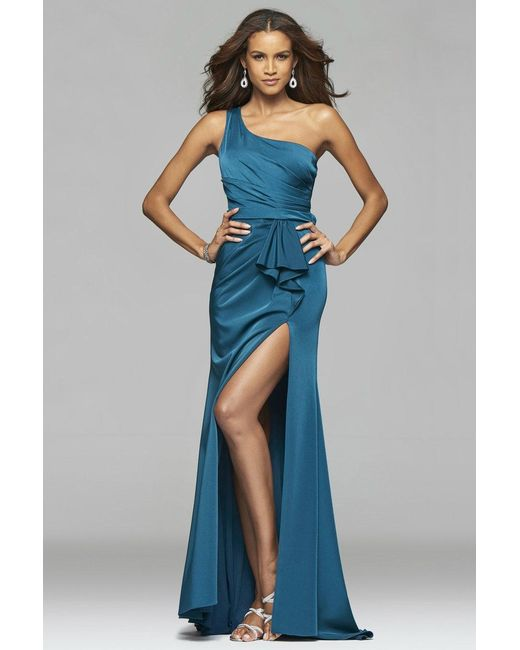 Faviana - Blue Faille Satin Asymmetrical One Shoulder Evening Dress With Sash And Back Cut-outs - Lyst